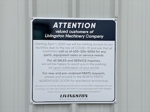 Livingston Machinery COVID-19 sign
