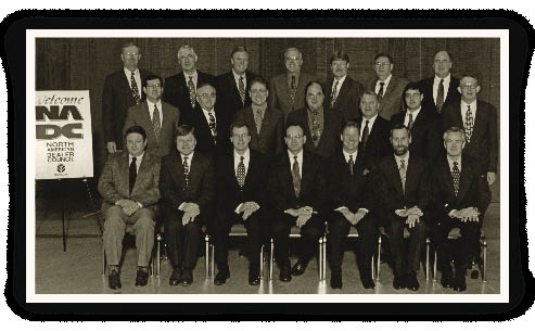 "This group photo shows New Holland's North American Dealer Council in 2000. ""During my 25 years, I saw the number of our dealers drop by probably 50%,"" says Allen Rider, vice president of North American Agriculture. ""There's no question thatdealers today are much stronger businessmen than when I first started."""