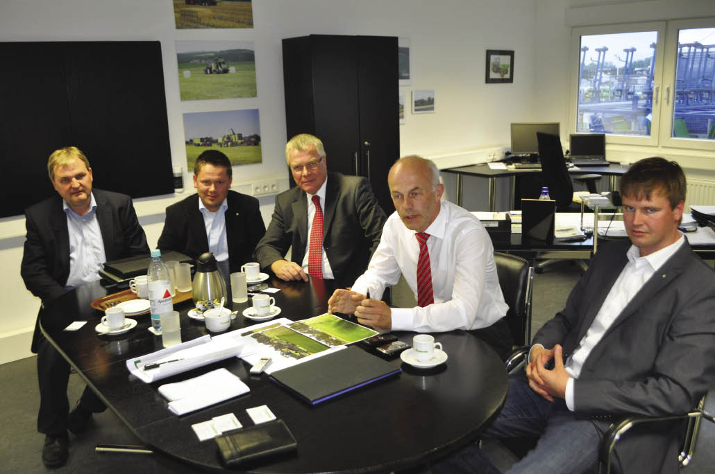 Krone managers and executives who participated in a roundtable discussion of future trends in hay equipment included (l-r): Andreas Afting, Hubertus Behmenburg, Wilhelm Voss, Josef Horstmann and Hartwig Jansson.