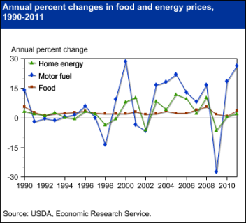 Food prices less volatile than fuel prices