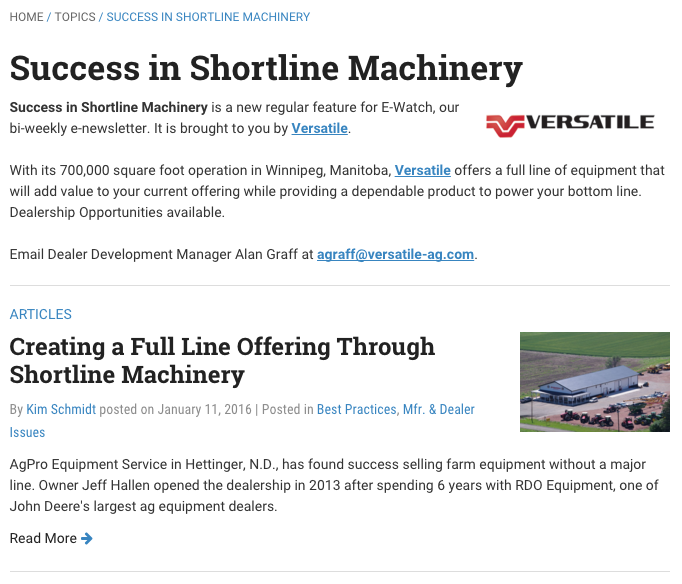 Shortline Machinery Series